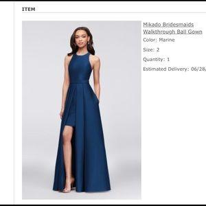 David's Bridal Navy Blue Bridesmaids Dress